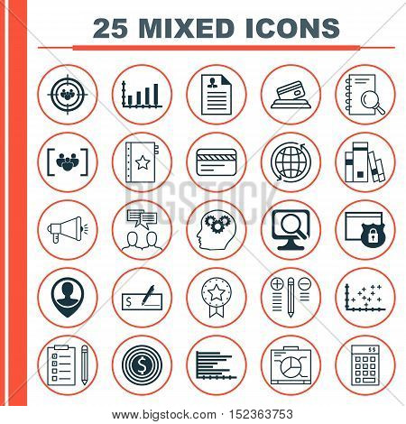 Set Of 25 Universal Editable Icons For Seo, Travel And Project Management Topics. Includes Icons Suc