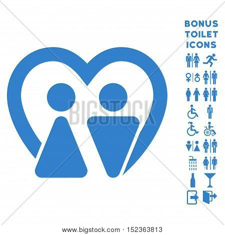 Marriage icon and bonus male and female WC symbols. Vector illustration style is flat iconic symbols, cobalt color, white background.