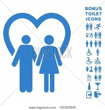Marriage icon and bonus gentleman and female restroom symbols. Vector illustration style is flat iconic symbols, cobalt color, white background.
