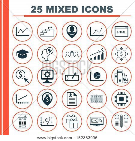Set Of 25 Universal Editable Icons For Statistics, Business Management And Advertising Topics. Inclu