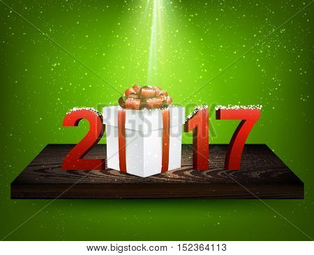 Green 2017 background with gift box on wooden shelf. Vector illustration.