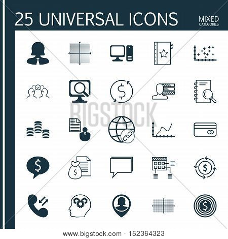 Set Of 25 Universal Editable Icons For Computer Hardware, Airport And Human Resources Topics. Includ