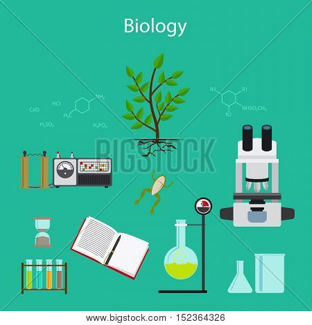 Biology research cartoon illustration with icons. Vector illustration