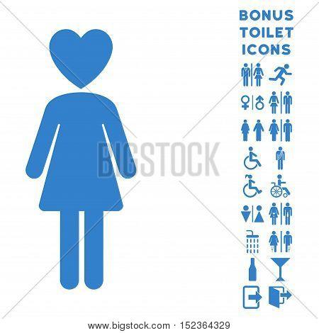 Mistress icon and bonus man and woman lavatory symbols. Vector illustration style is flat iconic symbols, cobalt color, white background.