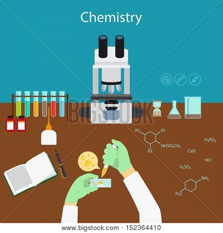 Chemistry research in laboratory cartoon vector illustration with icons