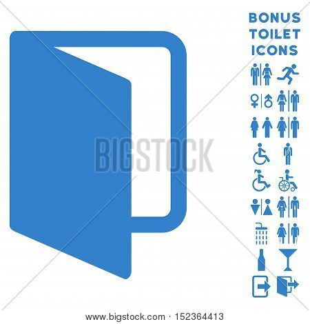 Open Door icon and bonus gentleman and lady lavatory symbols. Vector illustration style is flat iconic symbols, cobalt color, white background.