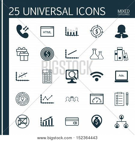 Set Of 25 Universal Editable Icons For Advertising, Human Resources And Education Topics. Includes I