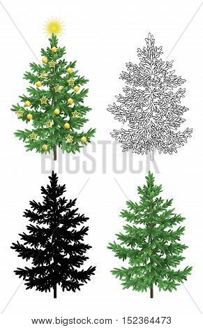 Set of Christmas Trees, with Holiday Decorations, Gold Stars and Balls, Green Naturalistic and Black Outlines Contours and Silhouettes Isolated On White Eps10, Contains Transparencies. Vector