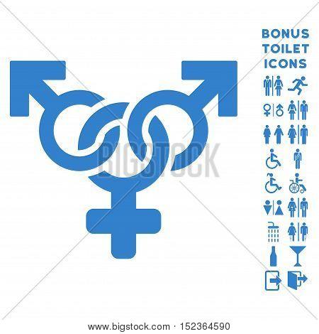 Polyandry icon and bonus male and lady WC symbols. Vector illustration style is flat iconic symbols, cobalt color, white background.