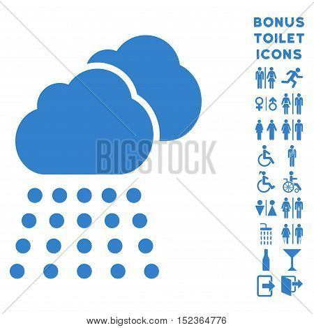 Rain Clouds icon and bonus male and woman toilet symbols. Vector illustration style is flat iconic symbols, cobalt color, white background.