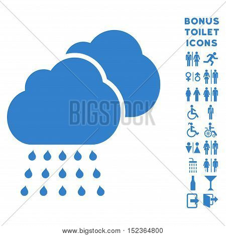 Rain Clouds icon and bonus gentleman and lady restroom symbols. Vector illustration style is flat iconic symbols, cobalt color, white background.