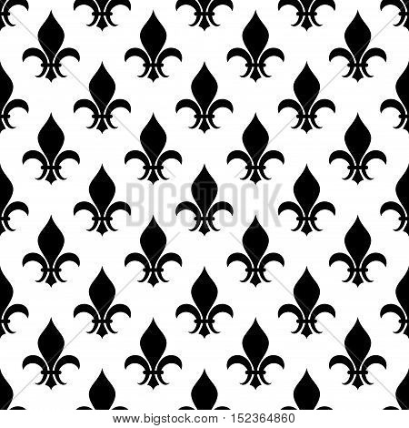 Vector fleur de lis seamless pattern in black and white color. Background design floral illustration