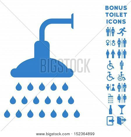 Shower icon and bonus gentleman and woman WC symbols. Vector illustration style is flat iconic symbols, cobalt color, white background.