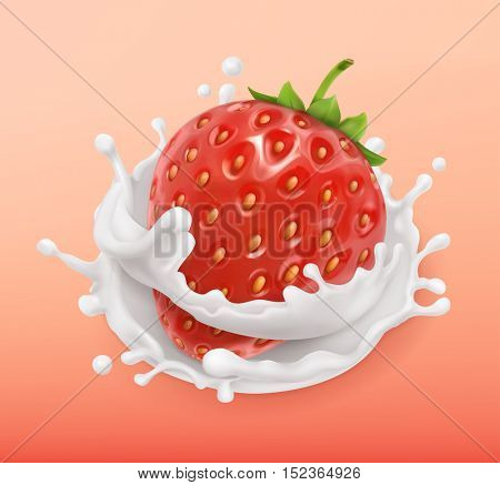 Strawberry and milk splash. Fruit and yogurt. Realistic illustration. 3d vector icon