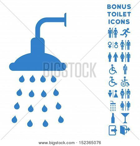 Shower icon and bonus male and lady toilet symbols. Vector illustration style is flat iconic symbols, cobalt color, white background.