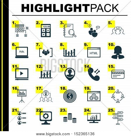 Set Of 25 Universal Editable Icons For Travel, Statistics And Marketing Topics. Includes Icons Such