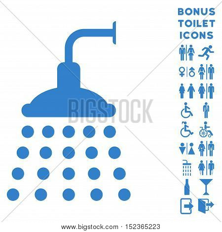 Shower icon and bonus gentleman and lady WC symbols. Vector illustration style is flat iconic symbols, cobalt color, white background.