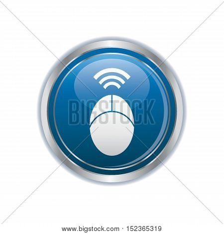 Computer mouse on the button. Vector illustration