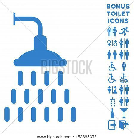Shower icon and bonus gentleman and lady lavatory symbols. Vector illustration style is flat iconic symbols, cobalt color, white background.