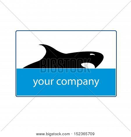 Vector sign abstract shark illustration isolated in white