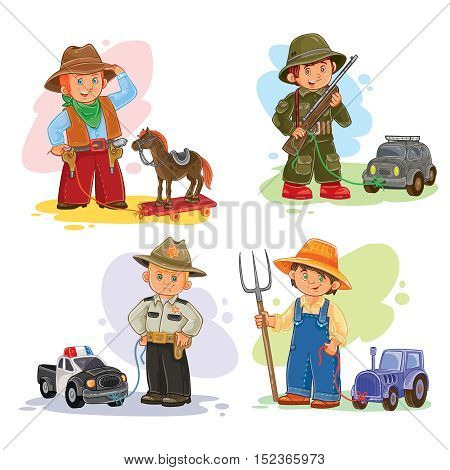 Set of vector icons of small children cowboy, sheriff, farmer, soldier and their vehicle