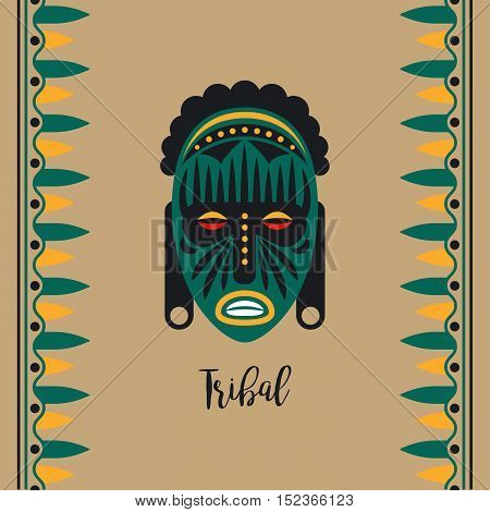 Dark green tribal style card with mask and borders vector illustration