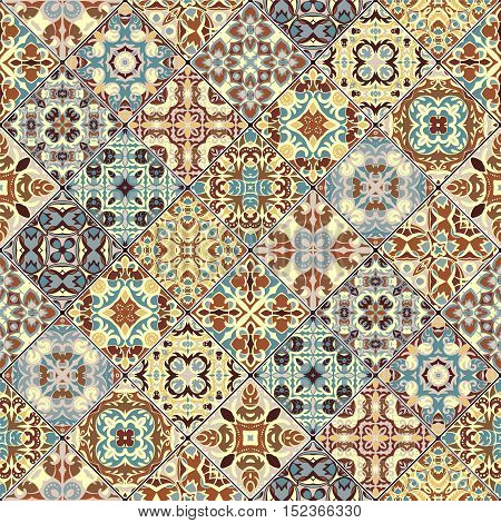 Decorative background in ethnic style. The rich decoration of abstract patterns for construction of fabric or paper. Vector illustration.