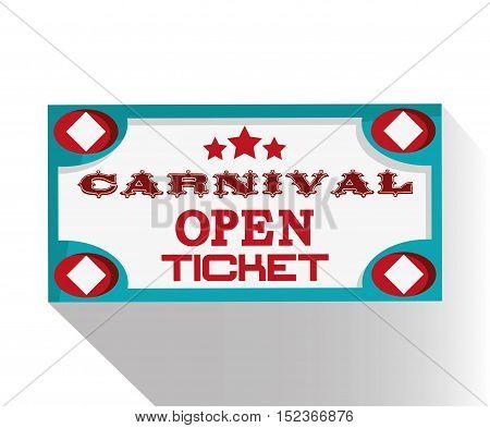 Banner ticket icon. Carnival festival fair circus and celebration theme. Colorful design. Vector illustration