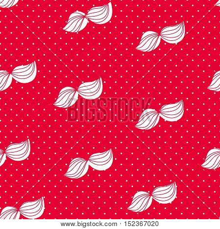 Merry Christmas pattern with white mustache. Vector  background