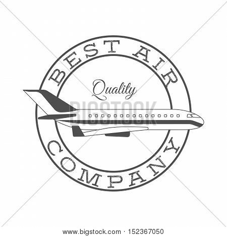 Best air company retro label in circle shape with airplane vector illustration