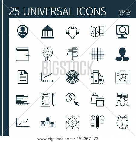 Set Of 25 Universal Editable Icons For Education, Marketing And Project Management Topics. Includes