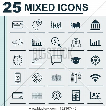 Set Of 25 Universal Editable Icons For Airport, Advertising And Seo Topics. Includes Icons Such As P
