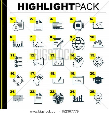 Set Of 25 Universal Editable Icons For Project Management, Education And Statistics Topics. Includes