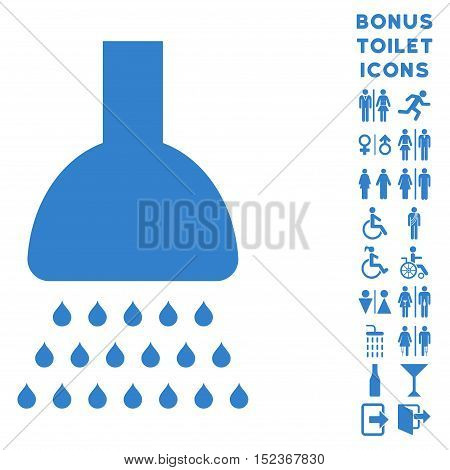 Shower icon and bonus male and woman lavatory symbols. Vector illustration style is flat iconic symbols, cobalt color, white background.