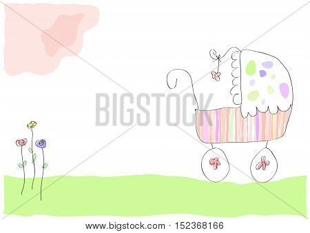 Vector drawing pram with baby girl illustration isolated in white
