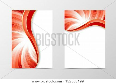 Flyer template vortex design. Abstract flyer template in red color with silver lines. Bright wavy spectrum flyer design. Vector illustration