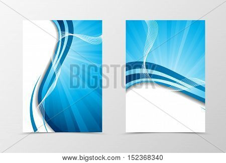 Wave flyer template design. Abstract flyer template in blue color with lines. Spectrum flyer design. Vector illustration