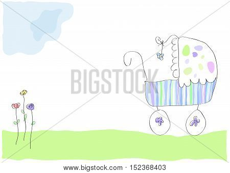 Vector drawing pram with baby illustration isolated in white