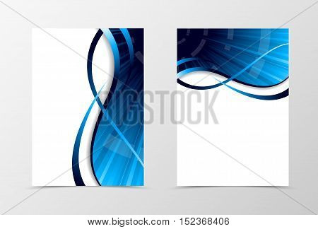 Flyer template spectrum design. Abstract flyer template with blue lines. Dynamic wave flyer design. Vector illustration