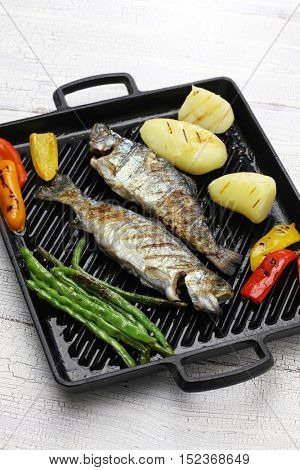 grilled whole rainbow trout on grill pan