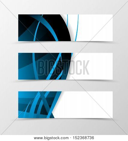 Set of banner wave design. Abstract banner for header with blue and dark lines. Design of banner in dynamic spectrum style. Vector illustration