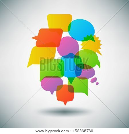 Talk speech bubble vector concept, infographic template. Communication dialogue web illustration