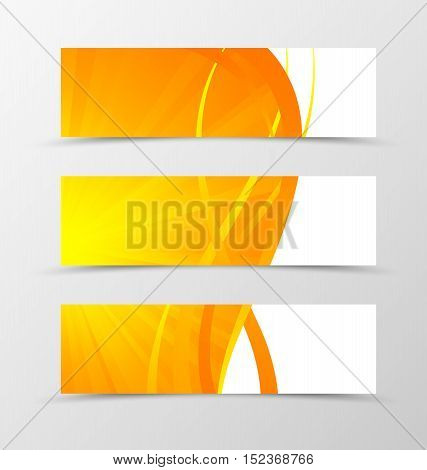 Set of banner wave design. Shiny orange banner for header with gold lines. Design of banner in spectrum style. Vector illustration