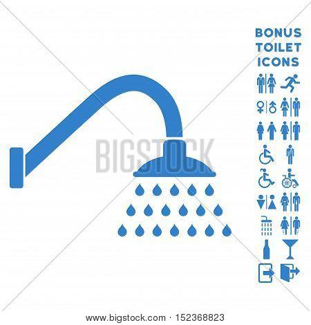 Shower icon and bonus man and woman lavatory symbols. Vector illustration style is flat iconic symbols, cobalt color, white background.