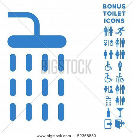 Shower icon and bonus man and woman toilet symbols. Vector illustration style is flat iconic symbols, cobalt color, white background.