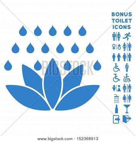 Spa Shower icon and bonus gentleman and female lavatory symbols. Vector illustration style is flat iconic symbols, cobalt color, white background.