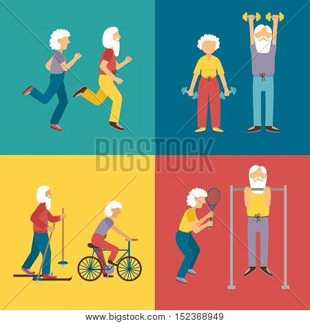 Vector set of cartoon characters. Old people activity: dumbbell skiing running tennis cycling. Happy active grandfather and grandmother. Old people activity concept. Vector old man and old woman