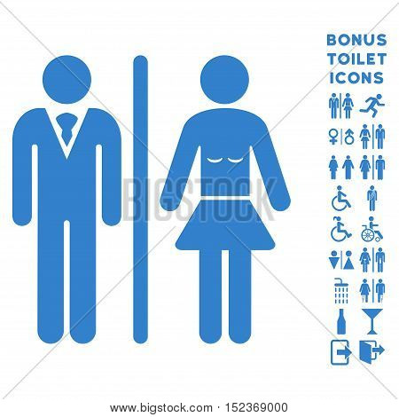 Toilet Persons icon and bonus man and lady WC symbols. Vector illustration style is flat iconic symbols, cobalt color, white background.