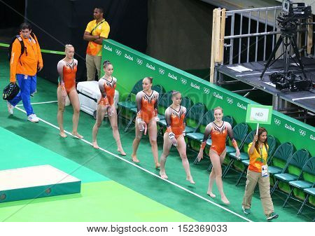 RIO DE JANEIRO, BRAZIL - AUGUST 4, 2016: Team Netherlands during an artistic gymnastics training session for Rio 2016 Olympics at the Rio Olympic Arena
