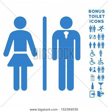 Toilet Persons icon and bonus man and lady lavatory symbols. Vector illustration style is flat iconic symbols, cobalt color, white background.